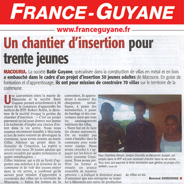 Chantier Macouria Guyane - Un chantier d'insertion pour trente jeune